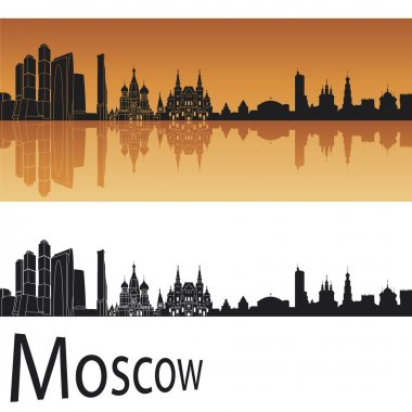 Moscow skyline in orange background in editable vector file
