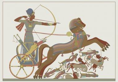 "Картина, постер, плакат, фотообои ""Древние египетские вектор облегчение от фреска фараона Рамзеса"", артикул 11377650"
