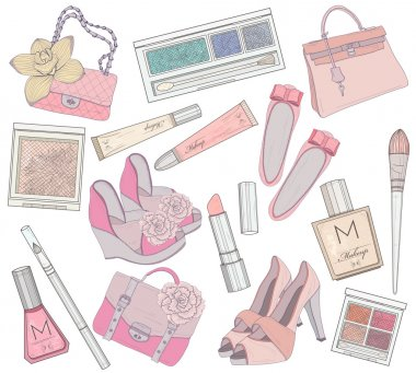Women shoes, makeup,cosmetic and bags element set.