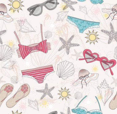 Cute summer abstract pattern. Seamless pattern with swimsuits