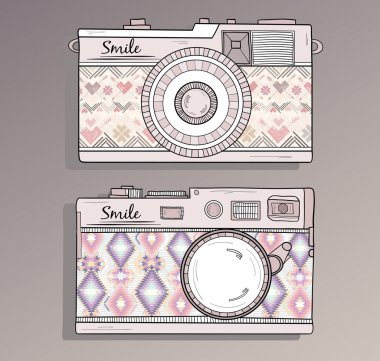 Retro photo cameras set. Vintage camera