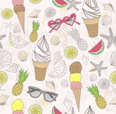 Cute summer abstract pattern. Seamless pattern with ice cream