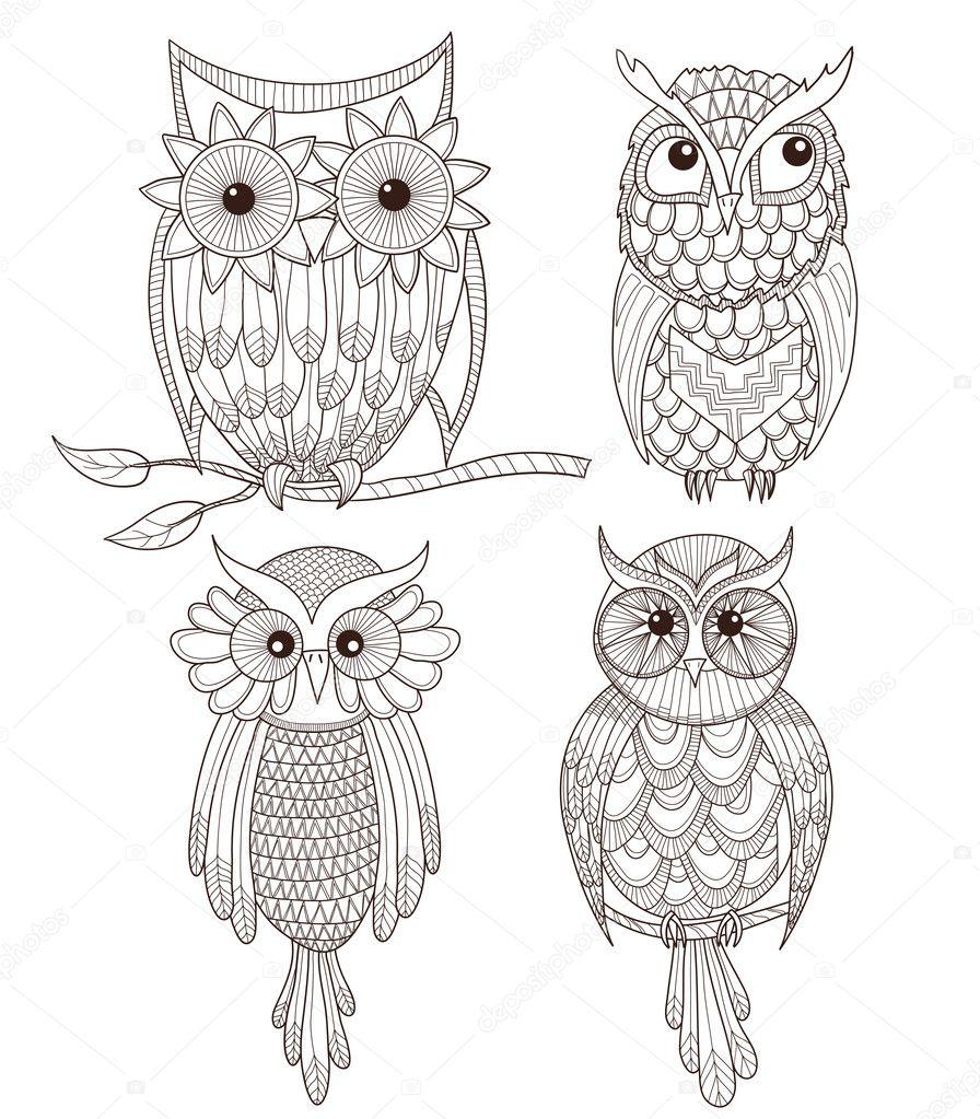 Vektorgrafiken Set cute owls Vektorbilder Set cute owls ...
