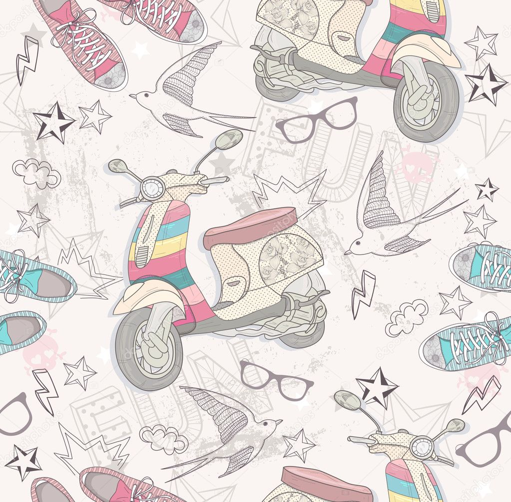 Cute grunge abstract pattern. Seamless pattern with scooters