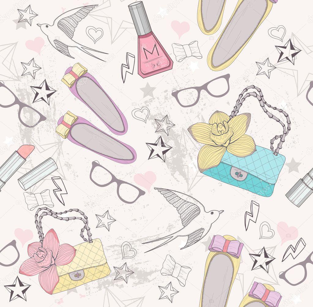 patrón sin costuras linda moda para niñas. patrón con zapatos, bolso ...