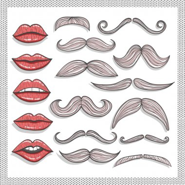 Retro lips and mustaches