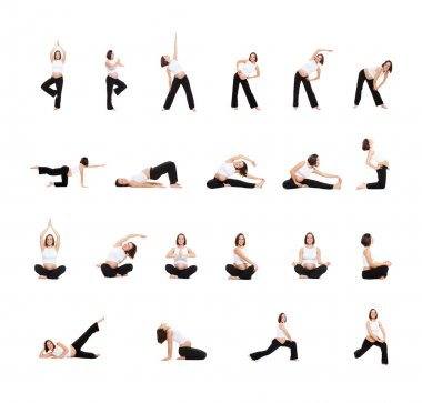 Photo set of pregnant woman doing exercises