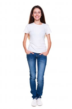 Happy teenager in white t-shirt and jeans