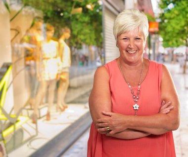 Senior Woman With Hands Crossed, Outdoor stock vector