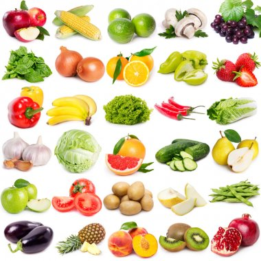 Collection of fruits and vegetables on white background stock vector