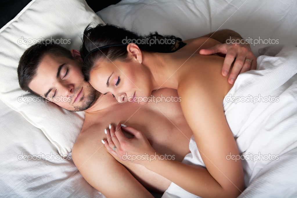 Young romantic couple sleeping in a bed   Stock Photo  11643571. Young romantic couple sleeping in a bed   Stock Photo   frantysek