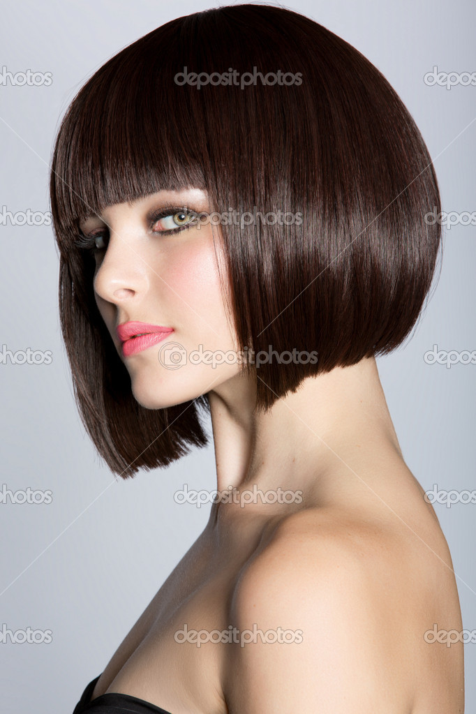 Woman with short brown hair
