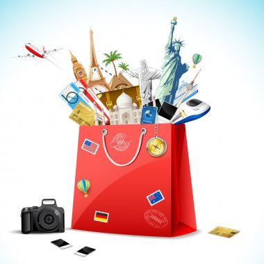 Illustration of shopping bag full of famous monument with air ticket and airplane flying stock vector