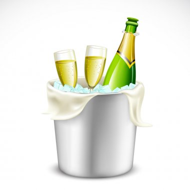 Champagne Glass and Bottle in Bucket