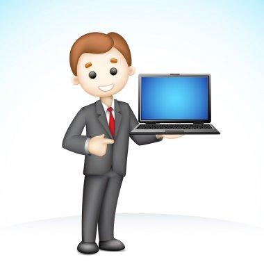 3d Business Man showing Laptop