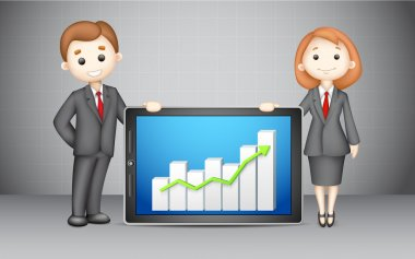 3d Business with Company Bar Graph