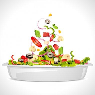 Illustration of bowl full of fresh vegetable salad stock vector