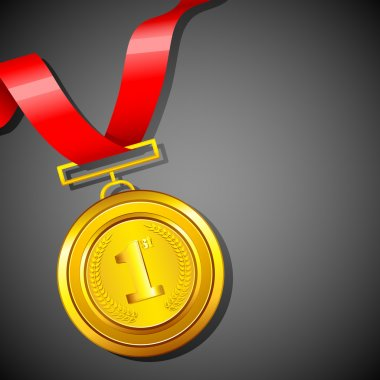 Illustration of gold medal in red ribbon on abstract background clip art vector