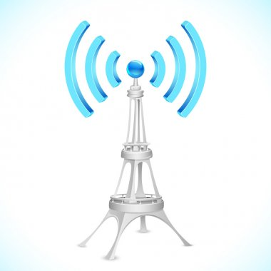 Illustration of communication tower with wi-fi wave stock vector