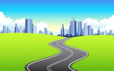 Illustration of highway road going to urban city clip art vector