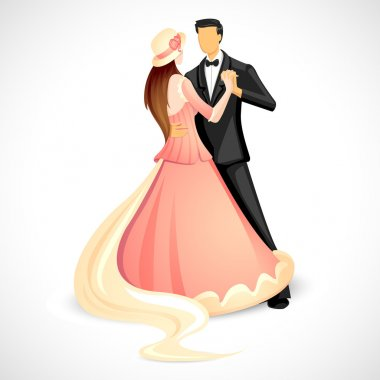 Illustration of newly married couple doing ball dance stock vector