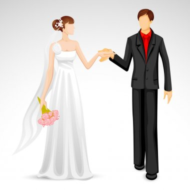 Illustration of newly married couple in wedding costume stock vector