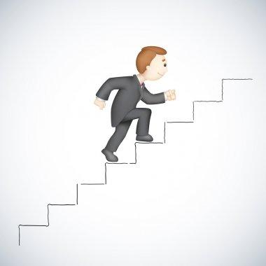 Business man Climbing Success Stair