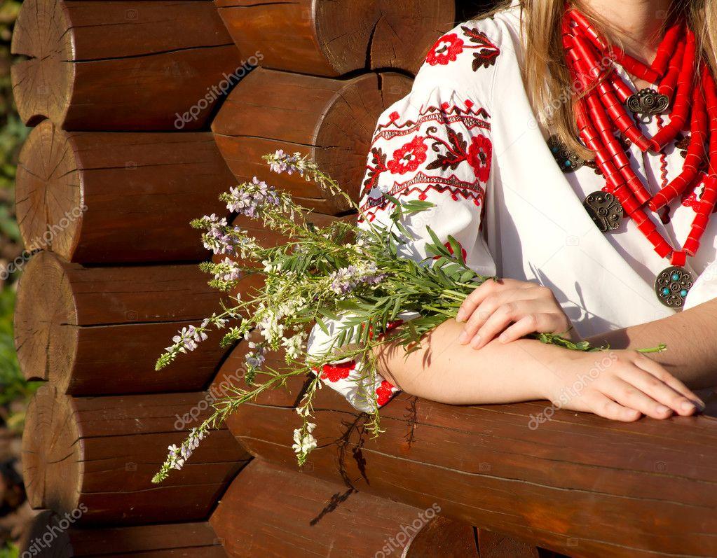 The girl in the Ukrainian national costume