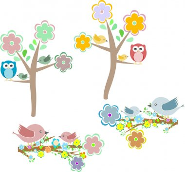 Set of autumn nature elements: owls and birds on branches