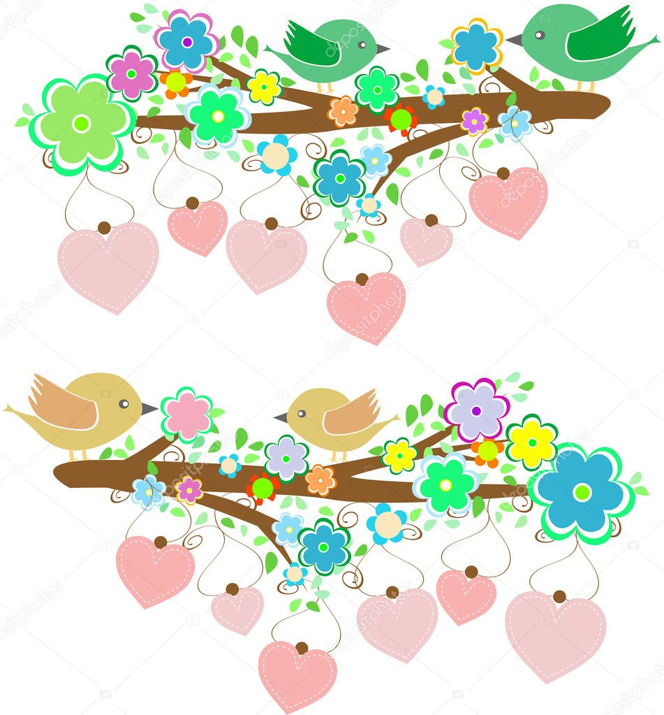 The bird sings sitting on tree branch with love heart