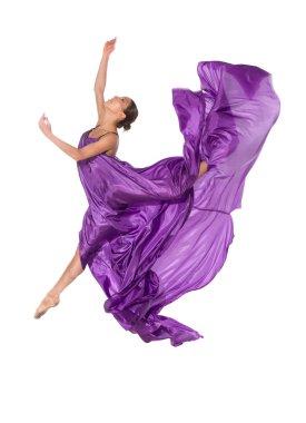 Ballet dancer in flying satin dress