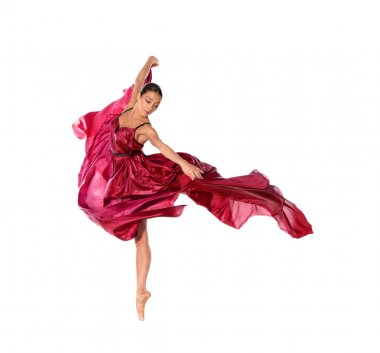 Ballet dancer in flying satin dress