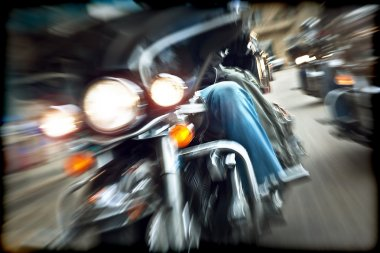 Abstract slow motion, bikers riding motorbikes