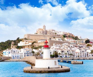 Eivissa ibiza town from red lighthouse red beacon