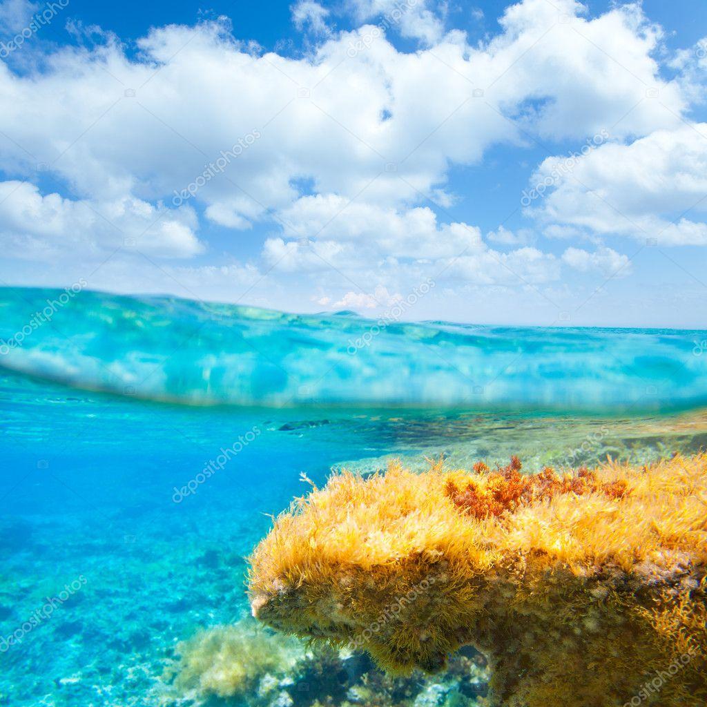 Ibiza Formentera underwater waterline blue sky