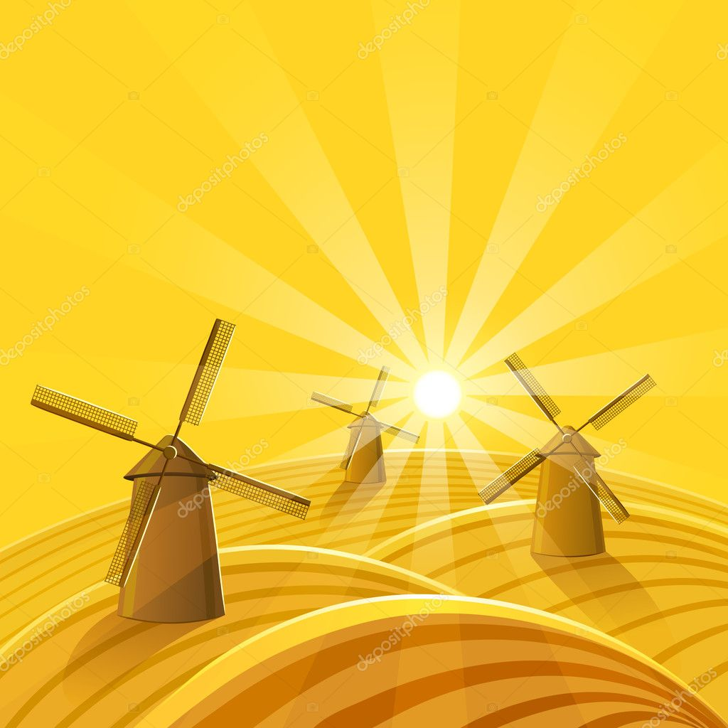 Windmills at sunset background