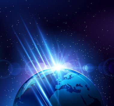 Planet earth in the bright rays of light. Vector illustration clip art vector