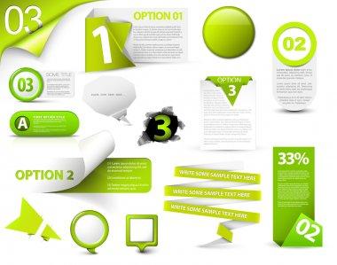 Set of green vector progress, version, step icons stock vector