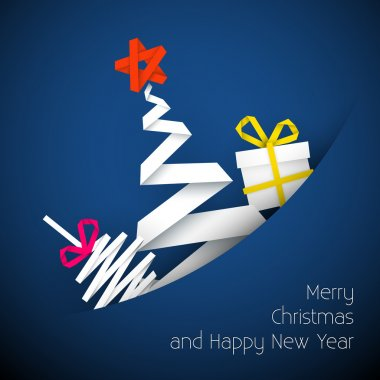 Simple vector blue christmas card illustration