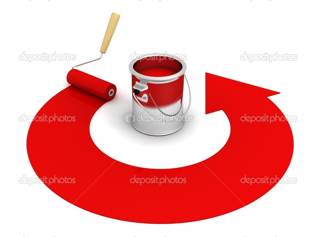 red paint can clipart. open paint can with roller and red round arrow u2014 stock photo 10832168 clipart