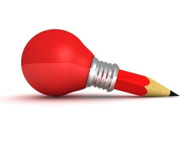 Red Light bulb Pencil Good Idea Concept