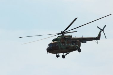 Russian military helicopter MI-8 make maneuvers