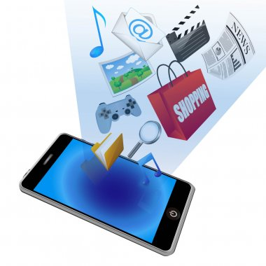 Vector smart phone with application icons