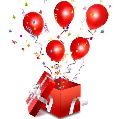 Vector open gift box with balloon