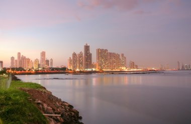 Shoreline of Panama City Beach at sunset