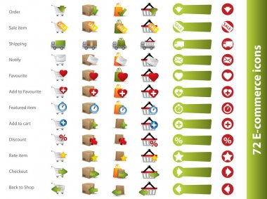 Shopping carts, baskets and boxes icons