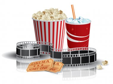 Popcorn, drink and filmstrip stock vector