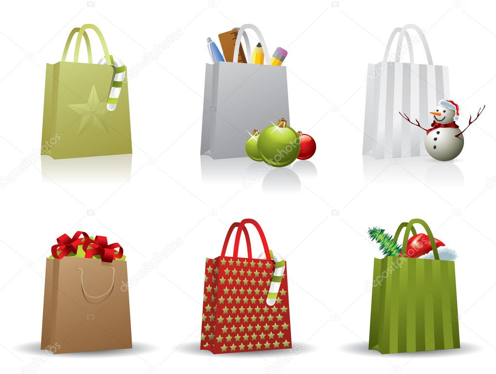 Christmas shopping bag — Stock Vector © graphit #11375742