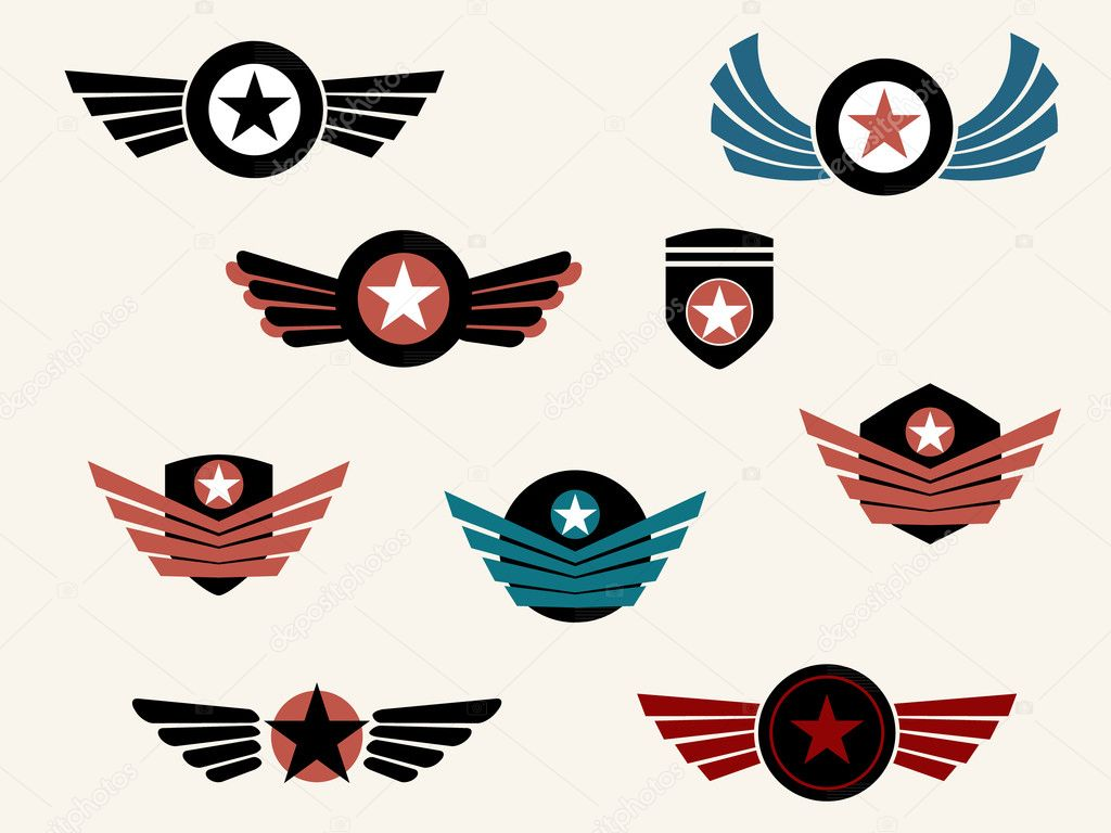 shield and badge with wings stock vector graphit 11375857 rh depositphotos com Angel Wings Vector Army Aviator Wings Vector