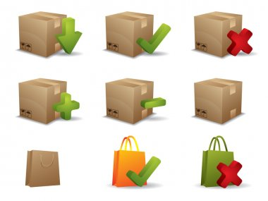 E-commerce box and shopping bag icons